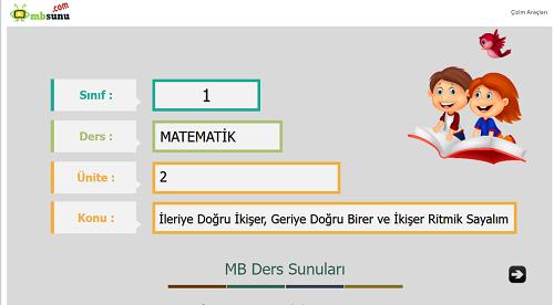 1.Sınıf Matematik İleriye Doğru İkişer, Geriye Doğru Birer ve İkişer Ritmik Sayalım Sunusu