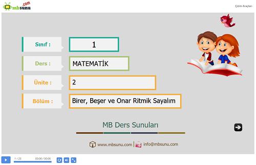 1.Sınıf Matematik Birer, Beşer ve Onar Ritmik Sayalım Sunusu