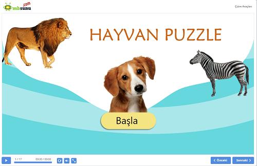 Eğlenceli Hayvan Puzzle Sunusu