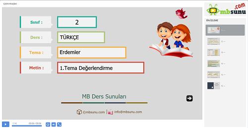 2.Sınıf Türkçe 1. Tema Değerlendirme Sunusu