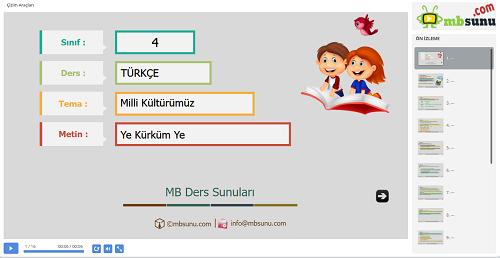 4.Sınıf Türkçe Ye Kürküm Ye Metni Sunusu