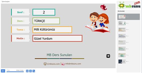 2.Sınıf Türkçe Güzel Yurdum Metni Sunusu